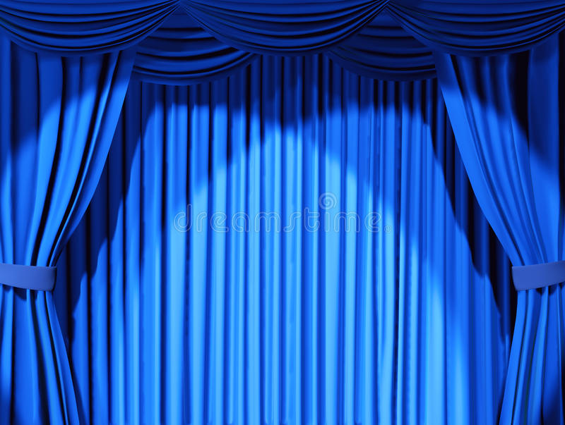 Theatrical curtain. Of blue color - 3d stock illustration