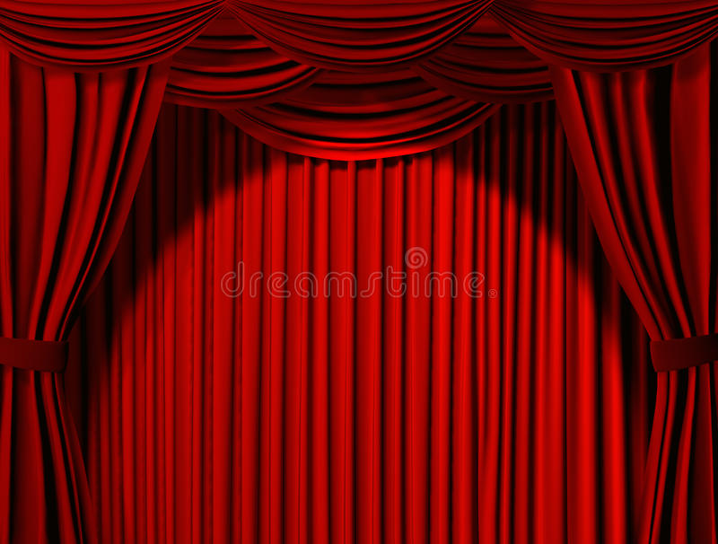 Theatrical curtain. Of red color stock illustration