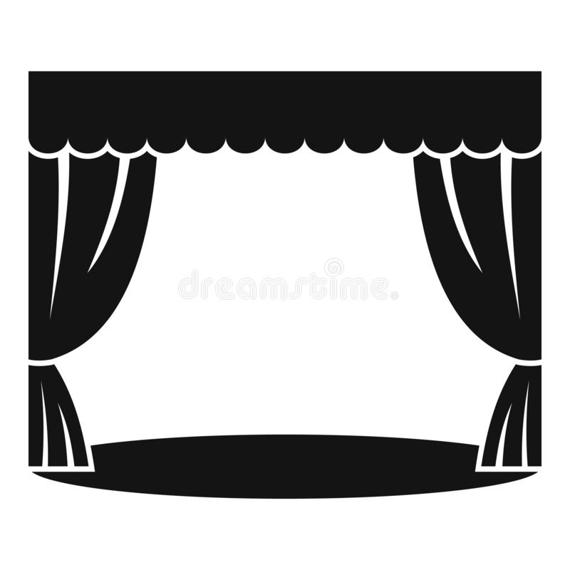 Theatrical curtain icon, simple style. Theatrical curtain icon. Simple illustration of theatrical curtain vector icon for web design isolated on white background vector illustration