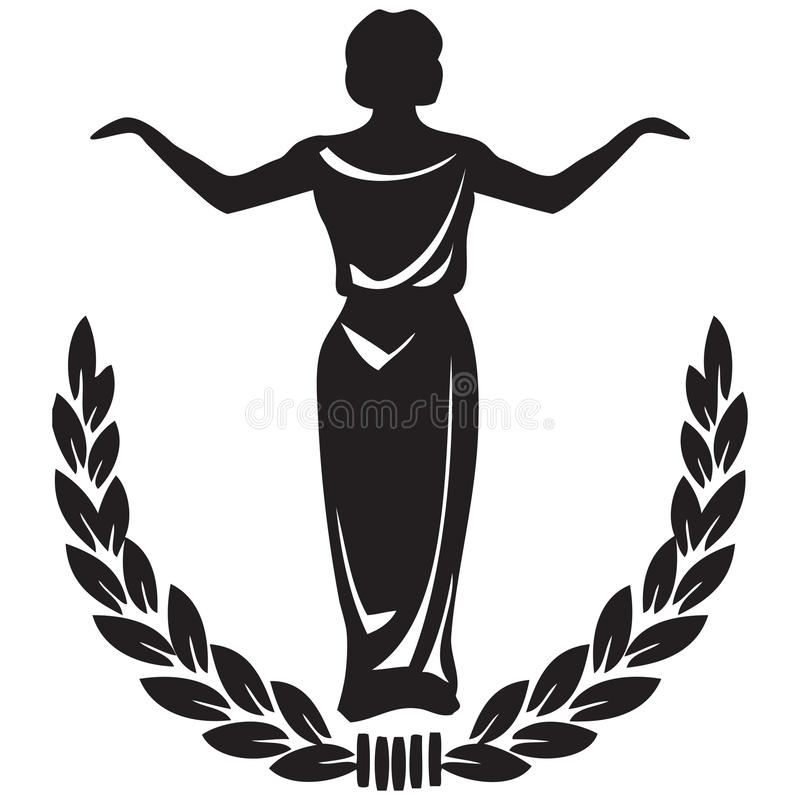 Theatrical emblem. Woman actor framed by a laurel wreath. Vector illustration royalty free illustration