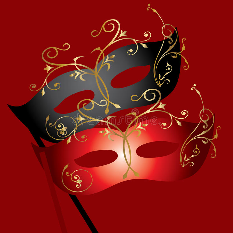 Theatrical Mask. Vector image of two theatrical masks on burgundy background stock illustration