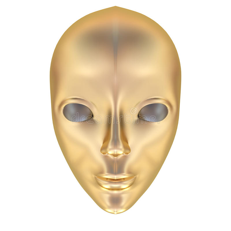 Theatrical mask. Theatrical golden mask isolated on white. Computer graphics vector illustration