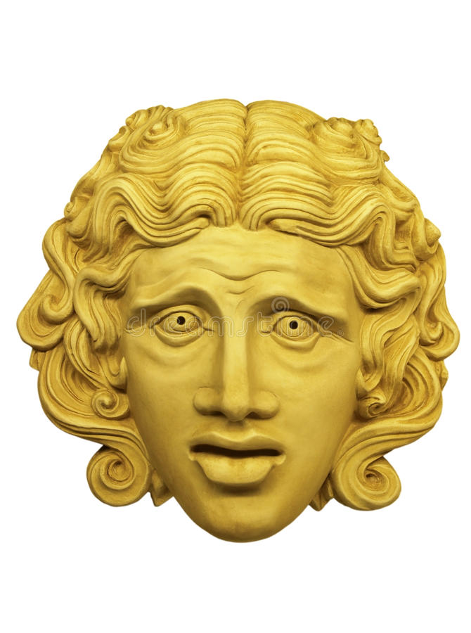 Theatrical mask. Gypsum theatrical mask Roman times stock illustration