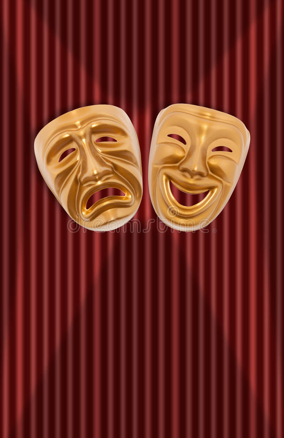 Theatrical mask. Comedy and tragedy theatrical mask on a curtain royalty free illustration