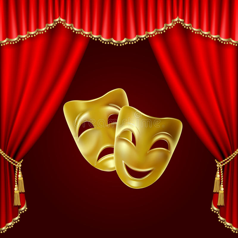 Theatrical mask. On a red background. Mesh. Clipping Mask stock illustration
