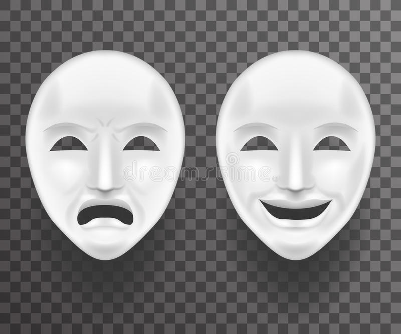 Theatrical Mask Sadness and Joy White Actor Play Face Antique Realistic 3d Transperent Icon Template Background Mock Up. Theatrical Mask Sadness Joy White Actor stock illustration