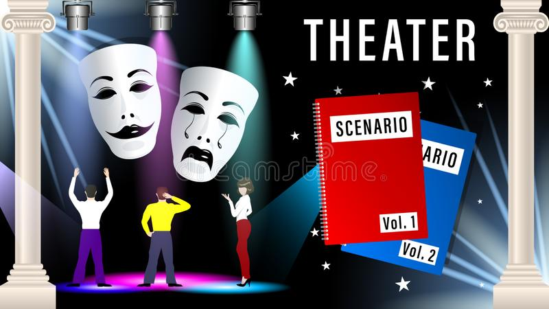 Theatrical mask, script, scene. People actors are rehearsing in the theatre under the light of the spotlight. Beautiful marble columns. Vector Illustration royalty free illustration