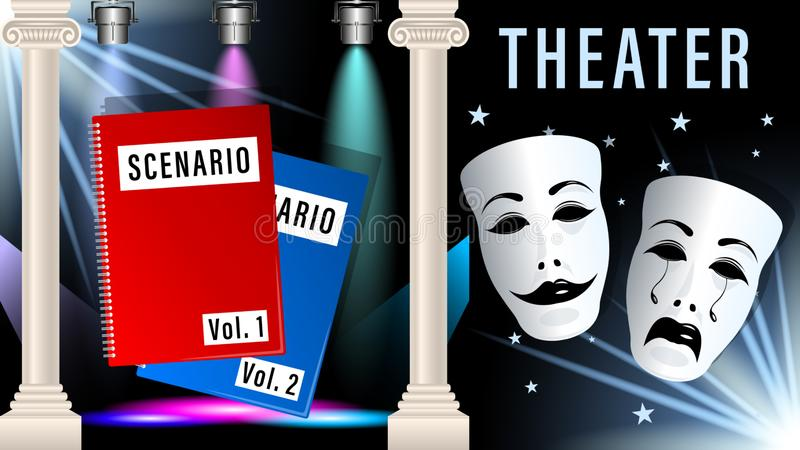 Theatrical mask, script, scene. In the theatre under the light of the spotlight. Beautiful marble columns. Realistic 3d horizontal Vector Illustration royalty free illustration