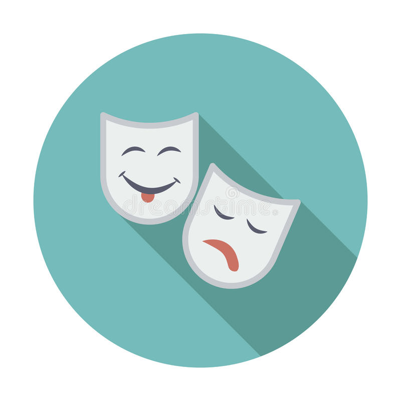 Theatrical mask. Single flat color icon. Vector illustration royalty free illustration