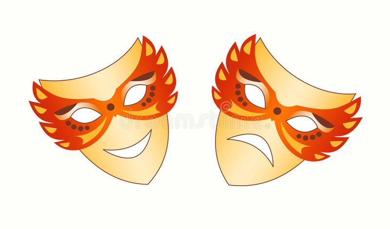 Theatrical masks. Illustration of theatrical masks. Vector vector illustration