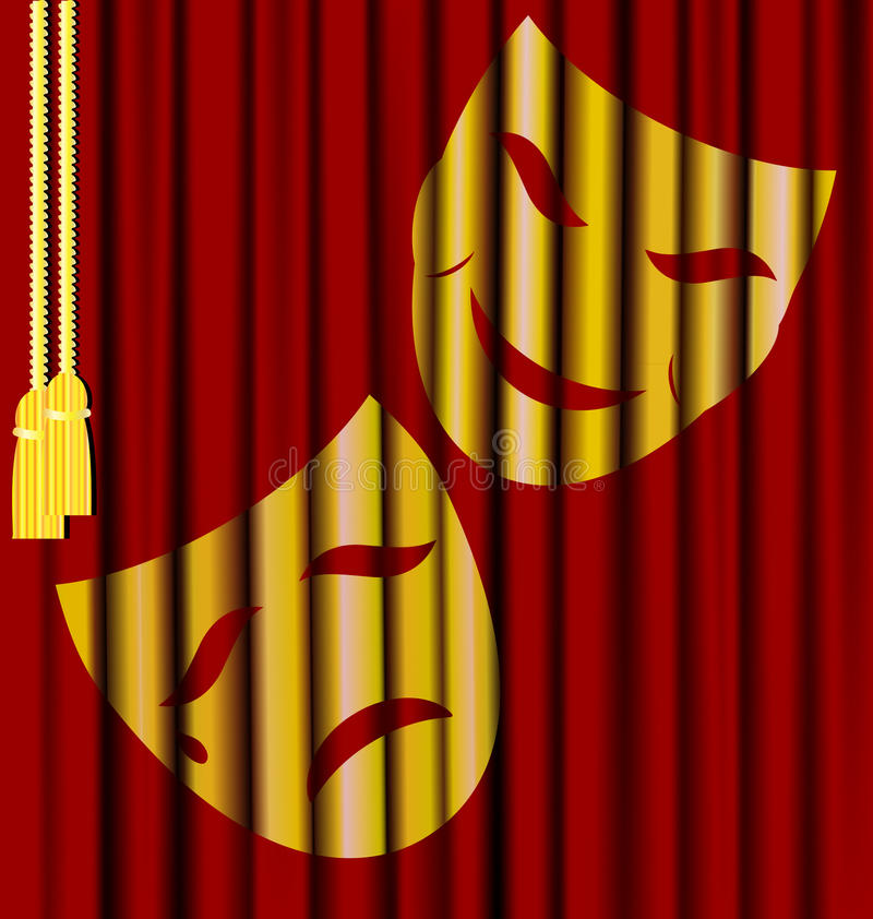 Theatrical masks. Against the background of red theater curtain - theatrical masks royalty free illustration