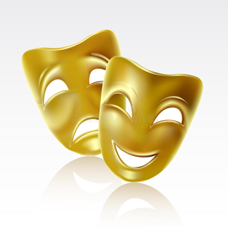 Theatrical masks. Theatrical mask on a white background. Mesh
