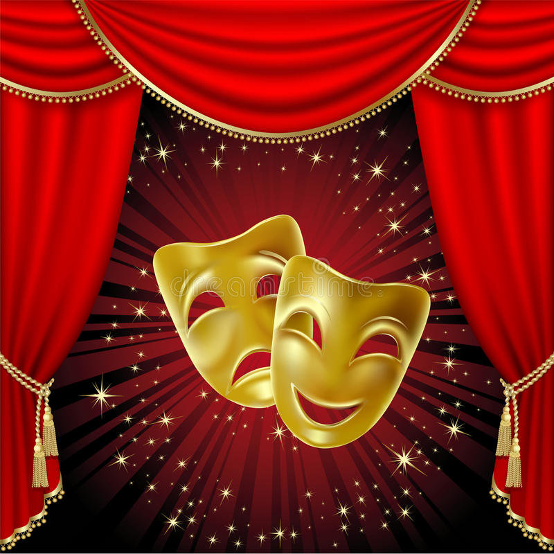 Download Theatrical masks stock vector. Illustration of show, backgrounds - 19039383