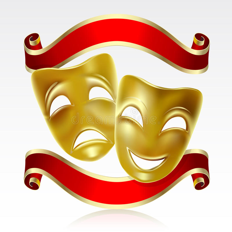 Theatrical masks. Theatrical mask with a red ribbon. Mesh royalty free illustration