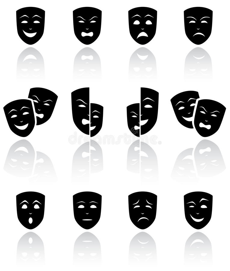 Download Theatrical masks stock vector. Illustration of icon, happiness - 26060849