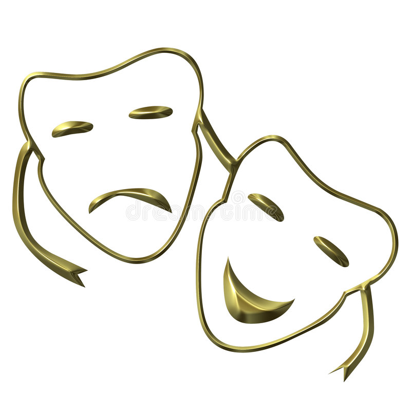 Theatrical Masks. Of drama and comedy stock illustration