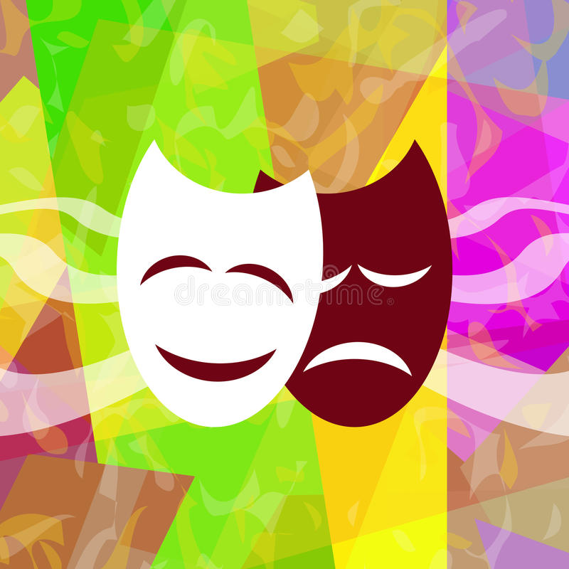 Theatrical masks. On bright abstract background stock illustration