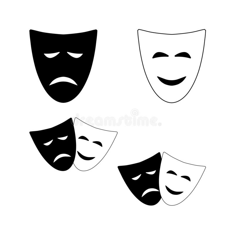Theatrical masks of comedy and tragedy vector illustration
