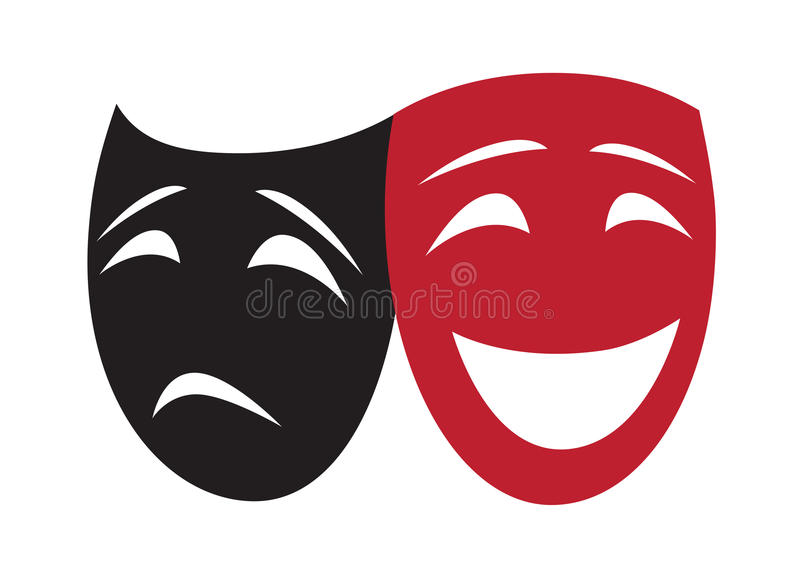 Theatrical Masks. Composition of Smiling and Sad Theatrical Masks stock illustration