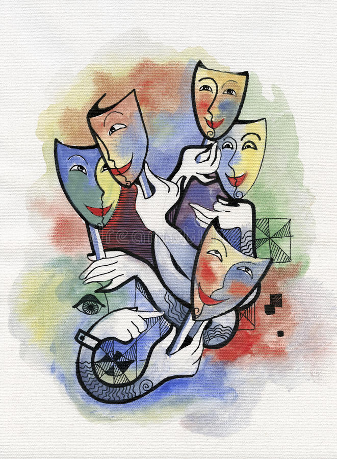 Theatrical masks. Five theatrical masks and hands in abstract style vector illustration