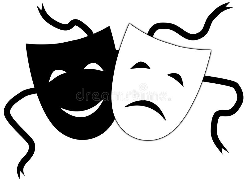 Theatrical masks. Illustration of Theatrical masks on a white background royalty free illustration