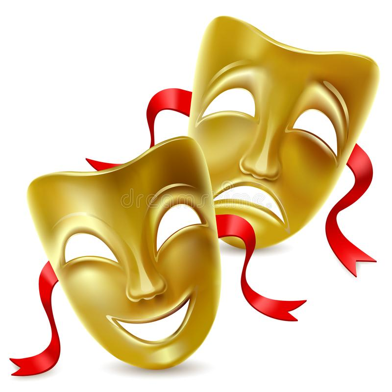 Theatrical masks. Isolated. Mesh. Clipping Mask Isolated. Mesh. Clipping Mask stock illustration