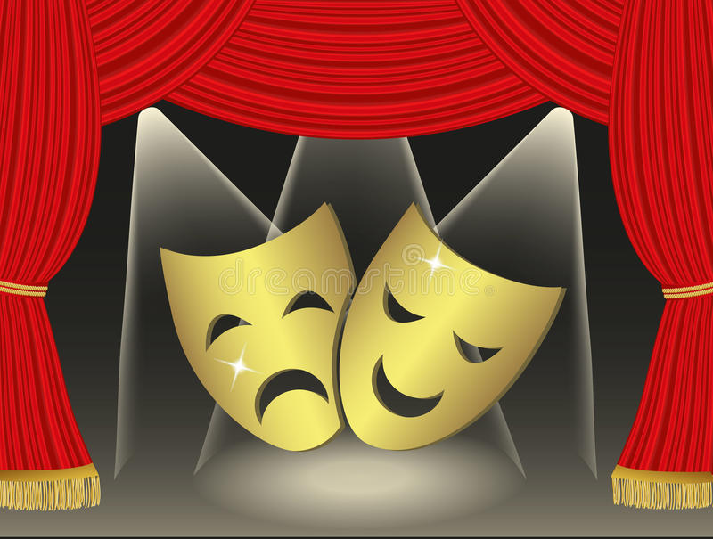 Theatrical masks. On red curtains background royalty free illustration