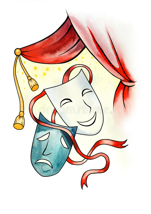 Theatrical masks. Two theatrical masks on the white background vector illustration