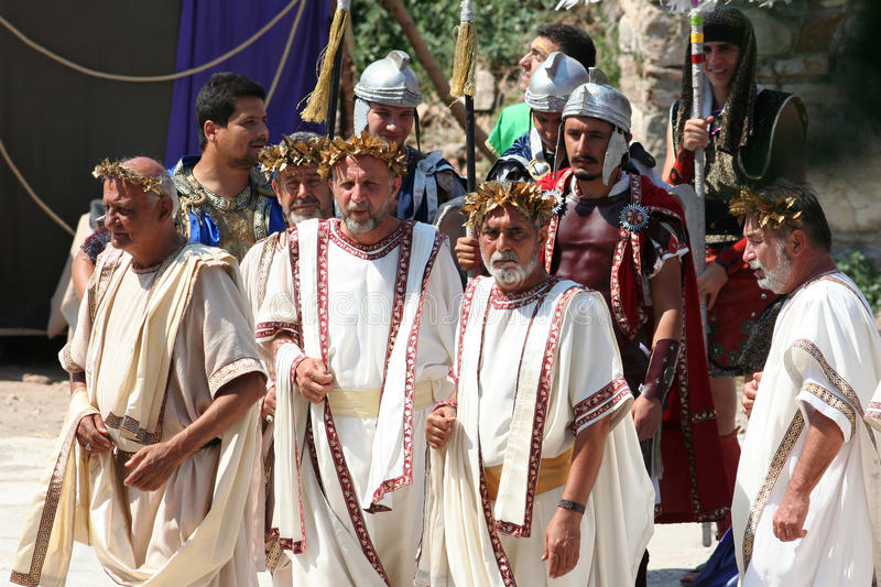 Theatrical performance in Ephesus, Turkey. Actors dressed in ancient costumes in a historic performance in Ephesus, Turkey. Ephesus was an ancient Greek city stock photos