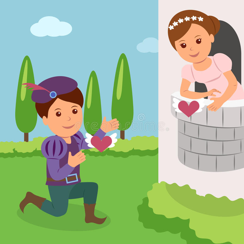 Theatrical performance of Romeo and Juliet. Concept World Theatre Day.  vector illustration