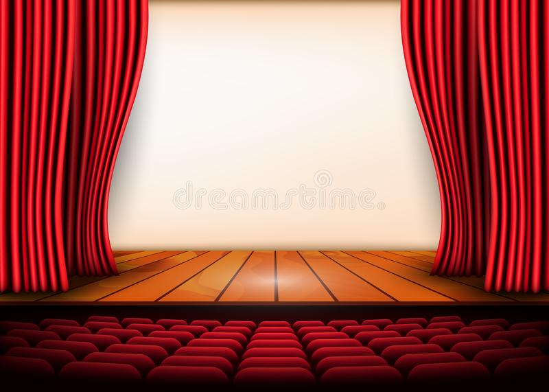 Theatrical scene with red curtains and wooden floor. Stock vector illustration.  vector illustration