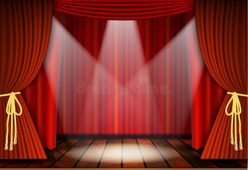 Theatrical scene with red curtains. And wooden floor. Stock vector illustration stock illustration
