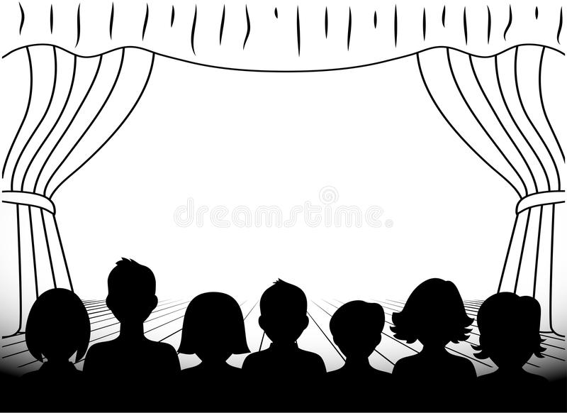 Theatrical scene silhouettes of people monochrome. On the image it is presented theatrical scene silhouettes of people monochrome vector illustration