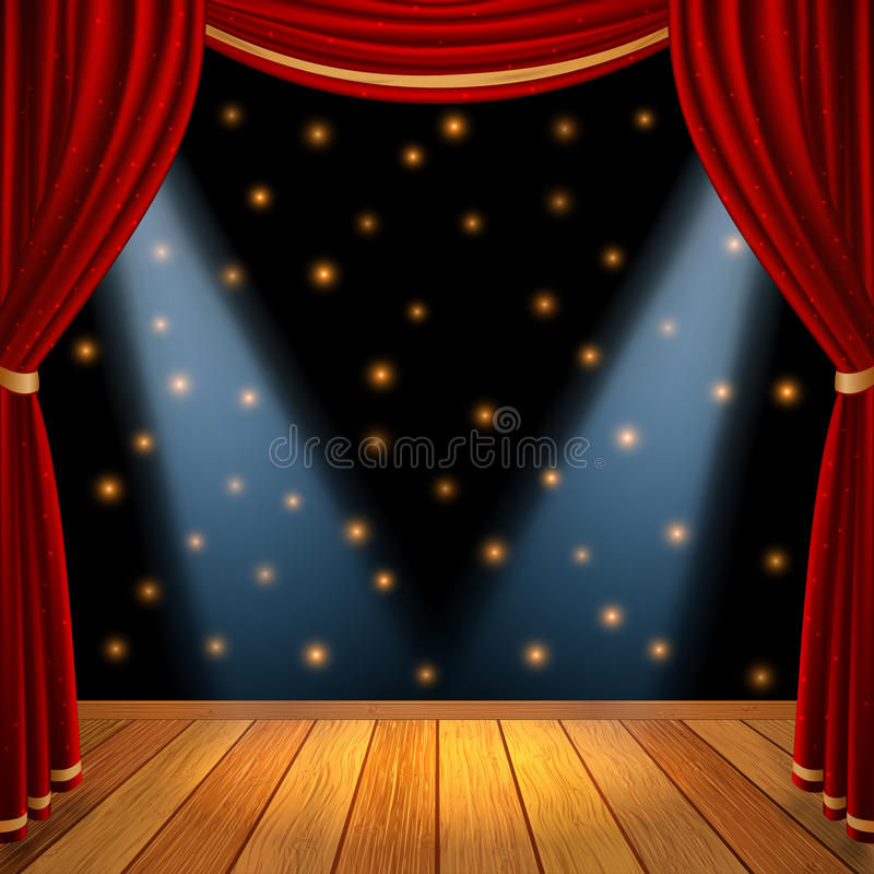 Theatrical scene stage. Empty theatrical scene stage with red curtains drapes and brown wooden floor with dramatic spotlight in the center , stock vector graphic royalty free illustration