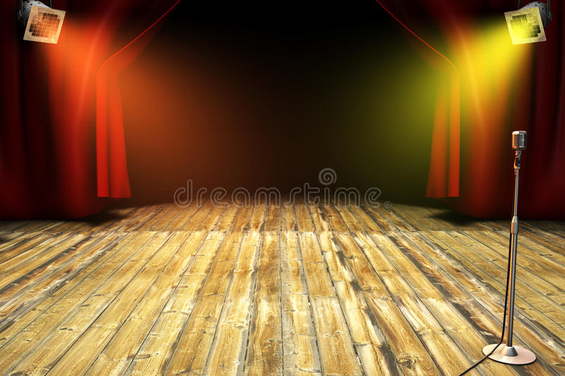 Theatrical stage. With wooden ground, theatrical lamps a and old microphone stock illustration