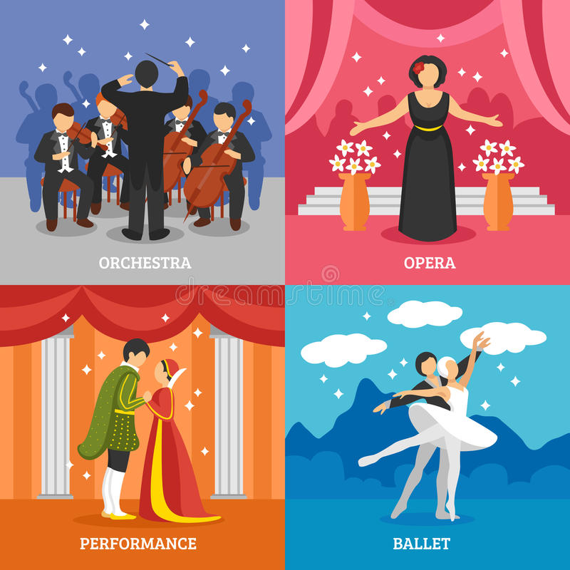 Theatrical Stage 2x2 Design Concept Set. Of dramatic performance ballet opera and symphonic orchestra with conductor flat vector illustration stock illustration