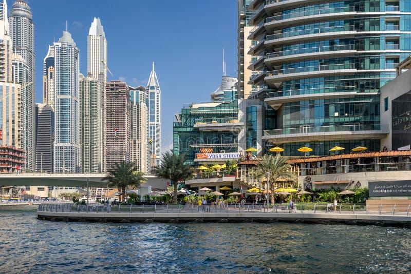 TheDubai marina walk in the UAE royalty free stock image