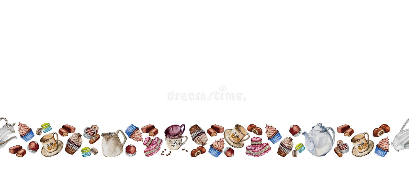 Thee en koffie met koppen, koffiebonen en snoepjes wordt geplaatst dat stock afbeelding