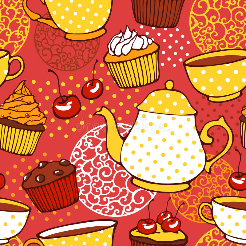 Thee en muffins zoet naadloos patroon vector illustratie