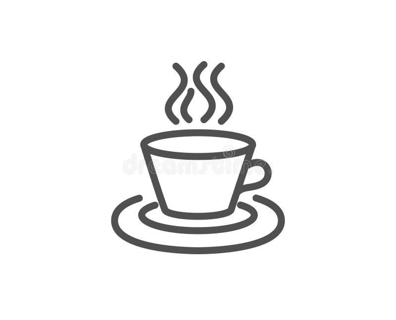 Thee of Koffielijnpictogram Heet drankteken stock illustratie