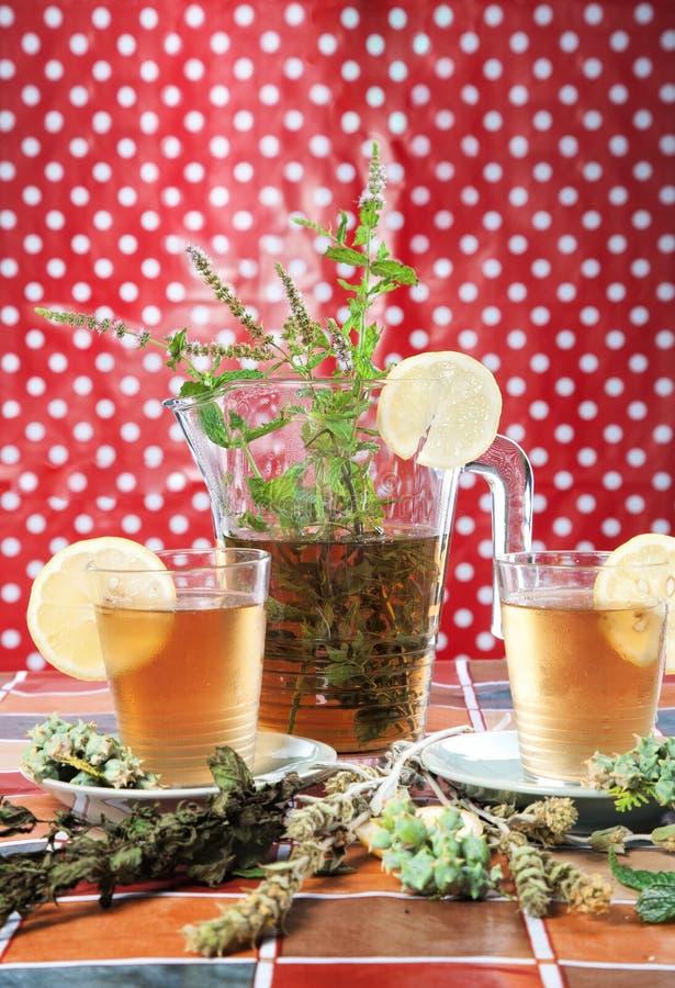 Thee met pepermunt en citroen royalty-vrije stock afbeelding