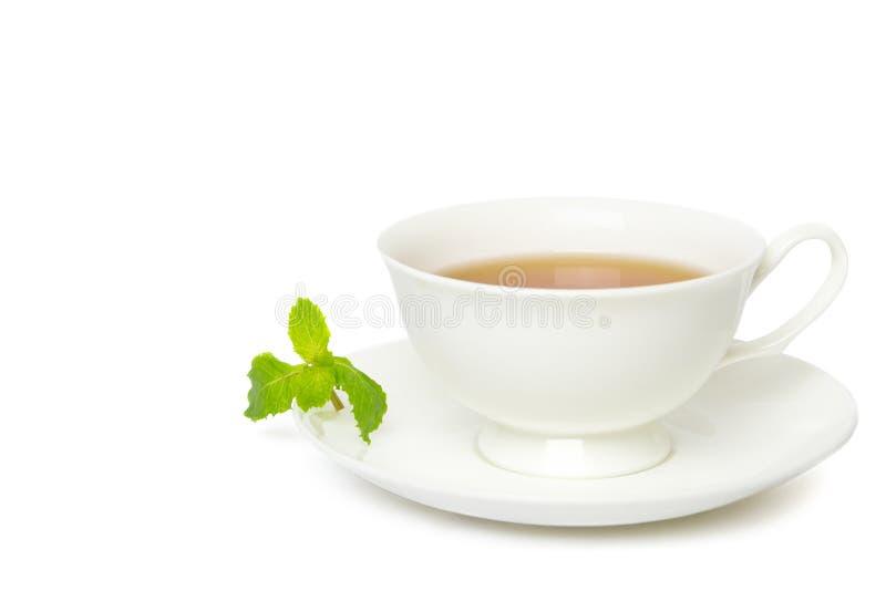 Thee in witte die kop met bladmunt op witte achtergrond wordt geïsoleerd stock afbeeldingen