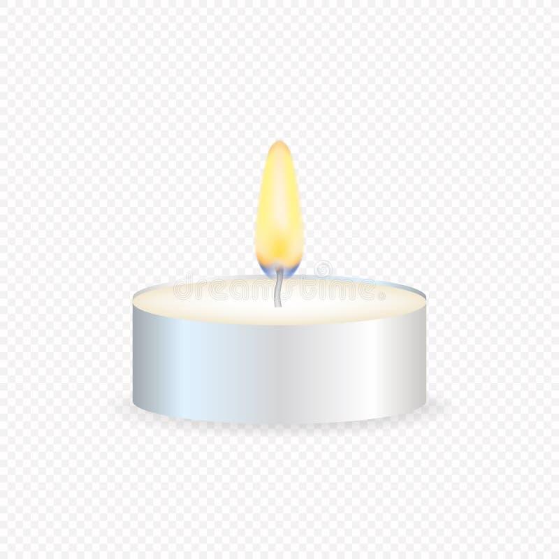 Theekaars of kaars in een geval Realistisch kaarslicht of pictogram van de thee het lichte vlam Vector voorraadillustratie royalty-vrije illustratie