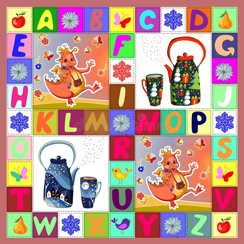 Theekransje met gelukkige draken Kinderachtig lapwerkpatroon stock illustratie