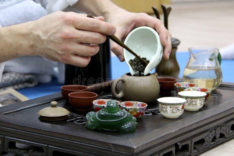 Theemeester die thee voor de ceremonie maken stock afbeeldingen