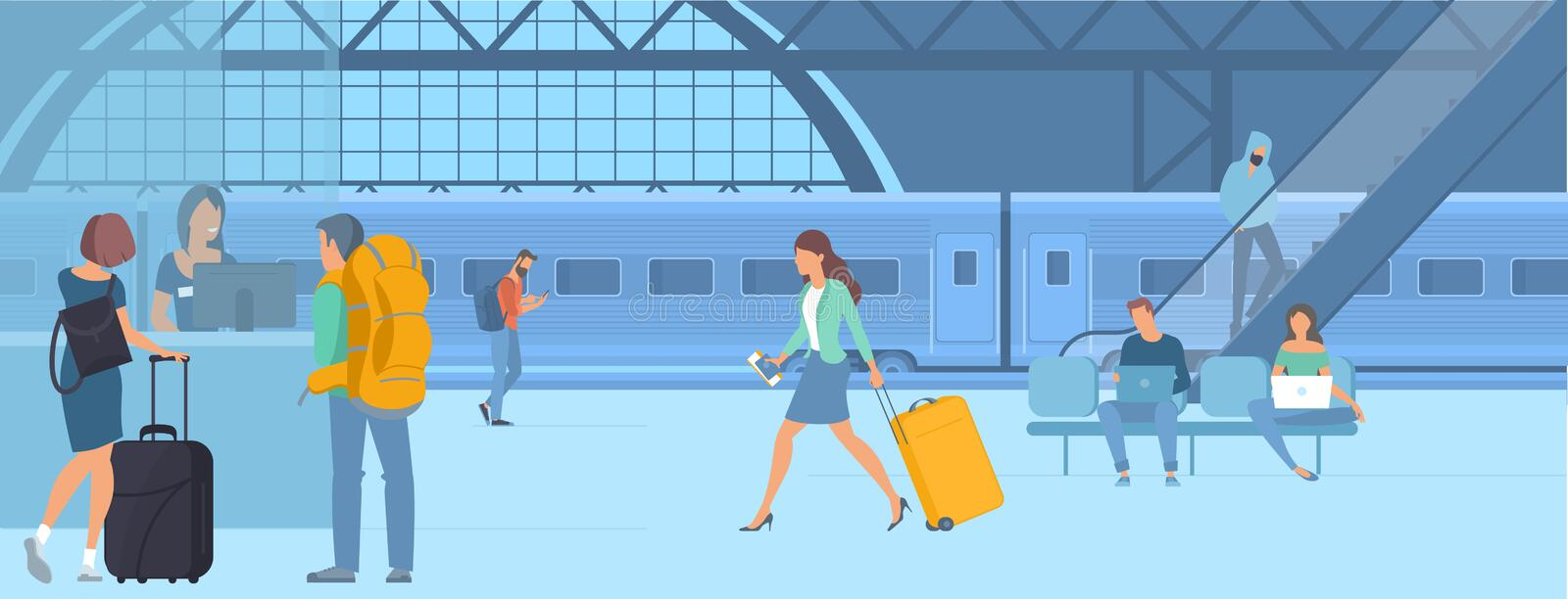 Travellers at railway station. Flat design illustration of young men and women travellers at railway train station waiting for departure. Webpage promotion and vector illustration
