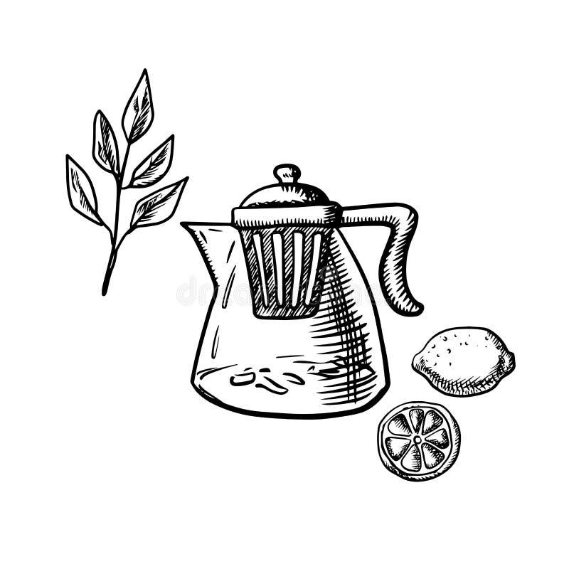 Theepot met infuser, theeblad en citroenfruit royalty-vrije illustratie