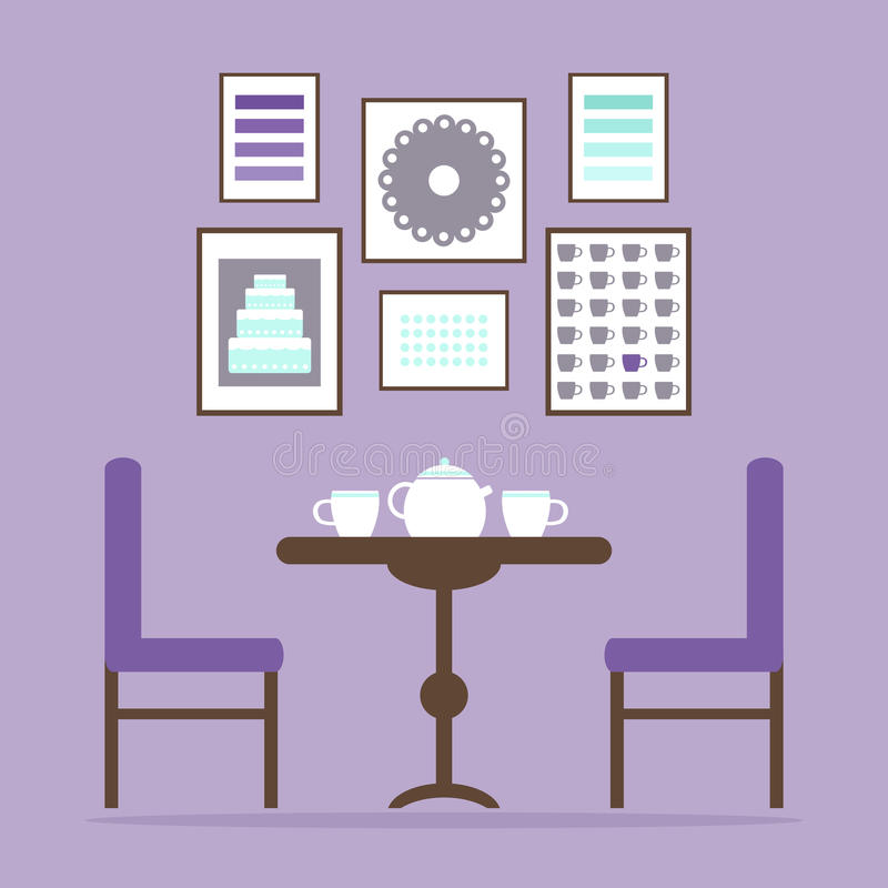 Theetijd in het eetkamerbinnenland met lijst, stoelen, theekoppen en beelden op de muur royalty-vrije illustratie