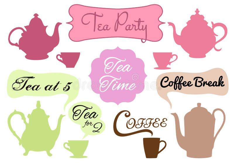 Theetijd, koffiepauze, vector vector illustratie