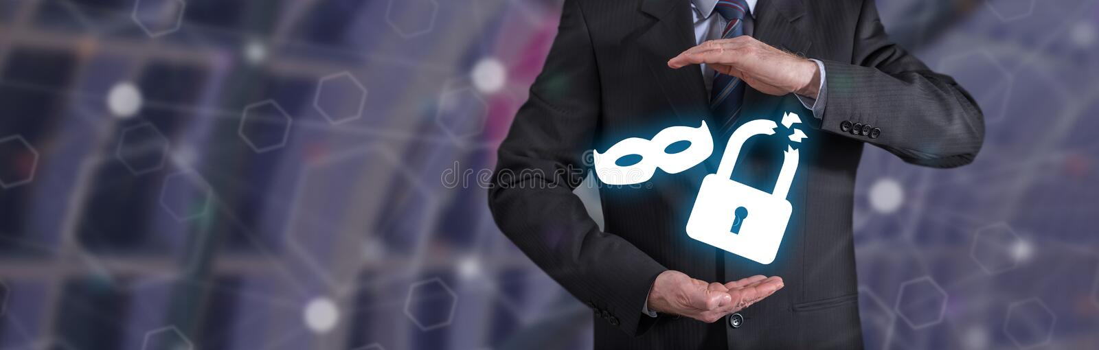 Concept of theft insurance. Theft insurance concept with businessman in a protective gesture stock photography